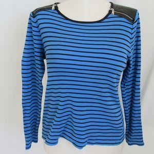 Ralph Lauren Blue Stripe Knit Top XL